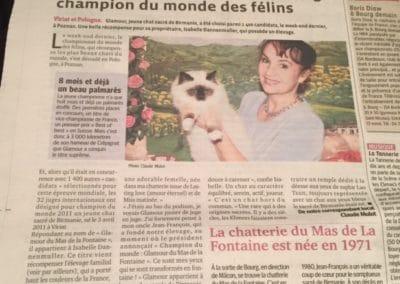 GLAMOUR DU MAS LA FONTAINE CHAMPIONNE DU MONDE
